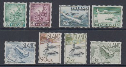 1959 ** Islande (sans Charn., MNH, Postfrish) Complete Yv 292/7 PA30/1  Mi 331/8  FA 365/72 (8v) - Island