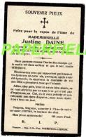 Pieux Souvenir Justine DAINE -décédée à SOMME-LEUZE En 1918 à L'âge De 40 Ans - Devotion Images