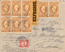 1915 EXPRES-brief Van EGMOND AAN ZEE Naar Amsterdam  Met NVPH  91 (8x)   Plus 1 Cent  (tarief 25 Cent) - 1891-1948 (Wilhelmine)