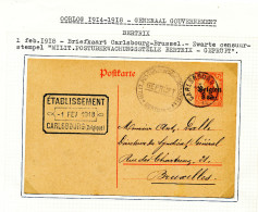 Entier Postal Germania CARLSBOURG 1918 Vers BXL - Censure BERTRIX - Exp. Frognet -- XX882 - Guerre 14-18