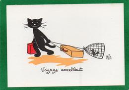 Illustration Chat Noir Signé Biz VOYAGE EXCELLENT    N° 85  EDIT  MARCEL VAYSSE - Cats