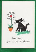 Illustration Chat Noir Signé Biz BIEN SUR J'AI COMPTE LES PETALES   N° 86  EDIT  MARCEL VAYSSE - Cats