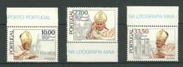 PORTUGAL MNH ** 1544-46 PAPE JEAN PAUL II Avec Bord De Feuille Religion - Ungebraucht