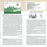 PATRIMOINE MONDIAL - ROYAL Monastère De San Lorenzo DU ESCORIAL - DOCUMENT INSTRUCTIF DE L´ÉMISSION DE TIMBRE ESPAGNE - España