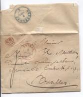 LSC C.Rouge Anvers 9/8/1846 + SR Encadré Taxé 4 V.Bruxelles C.d´arrivée BXL En Bleu PR3550 - 1830-1849 (Belgique Indépendante)
