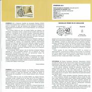 50E ANNIVERSAIRE DE FESOFI TIMBRE POSTE - DOCUMENT INSTRUCTIF DE L´ÉMISSION DE TIMBRE ESPAGNE - España
