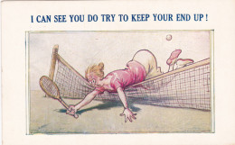 """Tennis ; Woman Falls Over Net , ..""""Keep Your End Up!"""" , 30-40s - Tennis"""