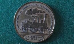 1843, Inauguration Du Chemin De Fer De Verviers A Aix-La-Chapelle, 6 Gram (med335) - Souvenirmunten (elongated Coins)