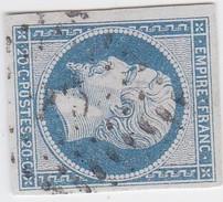 N° 14 Af Bleu Laiteux   /  PC  215    AXAT    /  AUDE    LOT 14615    INDICE 9  COTE 55€ + VARIETE - 1853-1860 Napoléon III