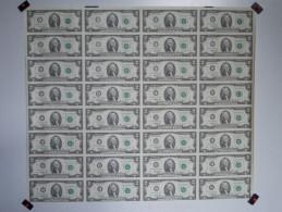 - RARE - USA - Planche Ou Feuille De 32 Billets De 2 Dollars 1995 - - Etats-Unis