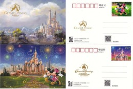 China 2016 Shanghai Disneyland Disney Resort Opening Animation Cartoon 2 Pcs Postcards Post Card Stamps 2016-14 - Disneyland
