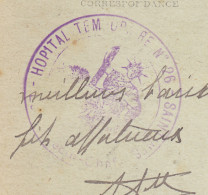 60 Saintines - Carte De 1917. Cachet Violet Hopital Temporaire N°26. Saintines Le Médecin Chef. Tb état. - Marcophilie (Lettres)