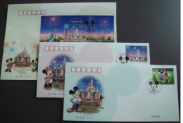 China 2016 Shanghai Disney Resort Opening Animation Cartoon Mickey 3 Pcs First Day Covers FDC Stamps 2016-14 - 2010-...