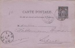 Entier Postal Paris Gare Du Nord Sage 10c Pour Lubeck