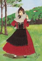 Valle D´Aosta - Costume Regionale - Bordado - Carte Brodée - Postcard Embroidery - Italia - Embroidered