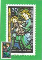 VIT-L1 - ALLEMAGNE BERLIN Carte Maximum Vitrail - Timbre De Noël 1977 - Vetri & Vetrate