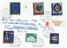 VIT-L5 - SUISSE Série Pro Patria 1970 + Compl. Sur Lettre Recommandée De St. Gallen Lachen-Vonwill Thème Vitraux - Vetri & Vetrate