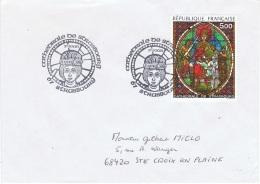 VIT-L19 - FRANCE Obl. 1er Jour Du Vitrail De La Cathédrale De Strasbourg Sur Lettre - Vetri & Vetrate