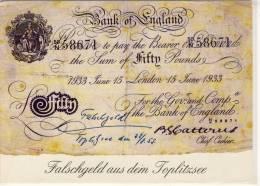 Falschgeld Aus Dem TOPLITZSEE,  Bank Of England - Banken