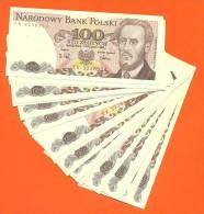 Lot De 25 Billets Identiques De 100 Zlotych 1988 Pologne Neufs - Coins & Banknotes