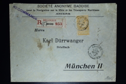 Belgium: Registered Company Cover Antwerp To München, OPB Nr 65 With Perfin 1906 - 1893-1900 Barba Corta