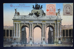 Belgium: Picture Postcard OBP 150  + 136  Brussels To France - 1918 Croix-Rouge