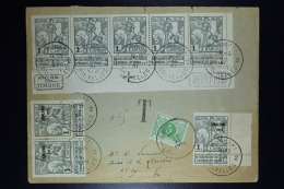 Belgium:  Cover OBP 84 In Strip Of 5 Cornerpiece + 3 X Nr 100 + Postage Due TX3A Local Brussels  1911 - 1910-1911 Caritas