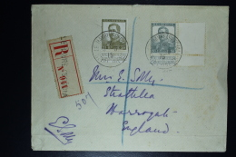 Belgium:  Registered Cover OBP  115 + 119  Le Havre Special To The UK 1915