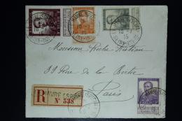 Belgium:  Registered Cover OBP  116 + 115  +117 + 122 Le Havre Special To Paris   1915