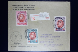 Belgium:  Registered Cover OBP  132 - 134  Baarle Hartog To St. Adresse France 1917 Most Lilely Via The UK.