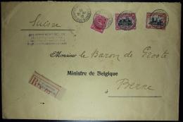 Belgium:  Registered  GouvernementCover OBP  138 - 142 + 144 St. Adresse France  To Bern 1917 - 1915-1920 Albert I