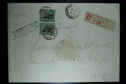 Belgium: Registered Cover  OBP  143 In Pair  St. Adresse  To Bern, GOUVERNEMENT Cover Wax Sealed 1915 - 1915-1920 Albert I