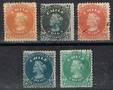 Chili - 1867 - Y&T N° 11 à 15, Oblitérés - Chili