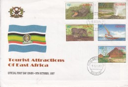 1997 Kenya Tourist Attractions Warthog Crocodile Sailing  Complete Set Of 5 On  First Day Cover  Used - Kenya (1963-...)