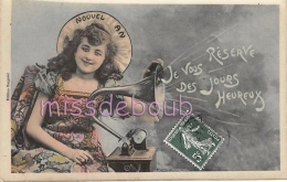FEMME Gramophone - Je Vous Reservé Des Jours Heureux - Nouvel An - 1908 - 2 Scans - Neujahr