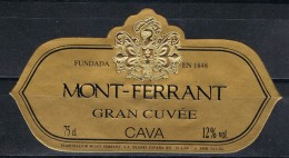 Etiqueta Champan, Cava MONT FERRANT , Blanes (gerona), Gran Cuvée - Champagne