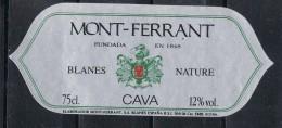 Etiqueta Champan, Cava MONT FERRANT , Blanes (gerona), Cava Nature - Champagne