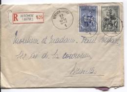 TP 588-589 Surtaxe S/L.recommandée C.Berchem (Antwerpen) 23/3/1942 V.Bruxelles PR3565 - Briefe U. Dokumente