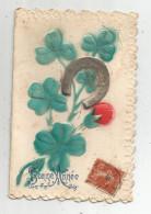 Cp , 4 Pages , 3 Scans , Nouvel An , BONNE ANNEE , Trefles à 4 Feuilles , Fer à Cheval , Gaufrée , Voyagée 1911 - Anno Nuovo