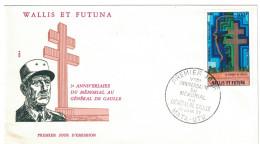 WALLIS Et FUTUNA - 1977 Enveloppe PREMIER JOUR POSTE AERIENNE 5eme ANNIVERSAIRE DU MEMORIAL A DE GAULLE - Covers & Documents