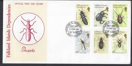 FALKLAND-DEPENDANCES -  Série Faune - Insectes N° 105 à 110 Sur Enveloppe 1er Jour - Cachet Du 16 Mars 1982 - TB - - Islas Malvinas