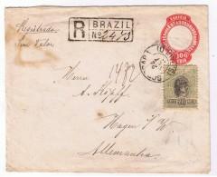 Brazil - Germany 1895 Registrado / Recomanded 100 Reis + 300 Reis / S Paulo To Hagen / Paulo A. Huehn Sorocaba! - Briefe U. Dokumente