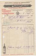 Facture 1937  - Distillerie à Vapeur De Chateauroux - Vins En Gros - Etablissement Louis DEPREZ (Indre) - France