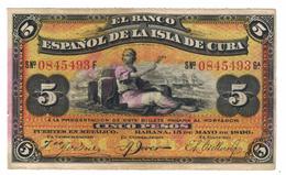 Cuba Colonial Money, 5 Pesos 1896, XF (PLATA On Reverse) . Free Economic Ship. To USA - Cuba