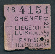 BELGIUM QY1706 1st Cl Chenee - Liege Guillemins - Railway
