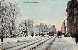 Sweden Stockholm, Sturegatan, Tram, Railroad, Carriage, Animated Winter 1909 - Suède