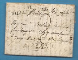 Aveyron - Villefranche De Rouergue Pour Caussade. LAC De 1823 - Postmark Collection (Covers)