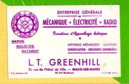 Buvard & Blotting Paper : Mecanique Electricité Radio  GREENHILL Malo Les Bains - Electricité & Gaz
