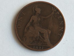 UK 1 PENNY 1897 ONE GRANDE BRETAGNE - 1816-1901 : Frappes XIX° S.