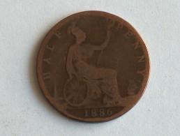 UK 1/2 PENNY 1886 HALF GRANDE BRETAGNE - 1816-1901 : Frappes XIX° S.